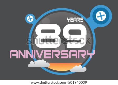 89 years anniversary logo with blue circle, orange liquid and clouds. anniversary logo for birthday, wedding, celebration and party