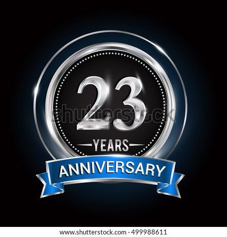 23 Years Anniversary Logo Silver Ring Stock Vector 499988611