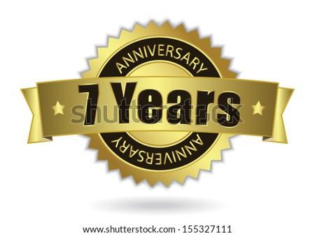 7 Years Anniversary Retro Golden Ribbon Stock Vector (Royalty Free ...