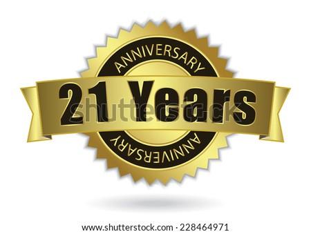 """21 Years Anniversary"" - Retro Golden Ribbon, EPS 10 vector illustration - stock vector"