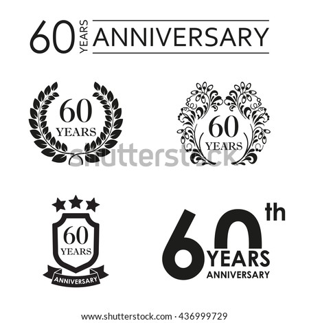 60 years anniversary set. Anniversary icon emblem or label collection. 60 years celebration and congratulation design element. Vector illustration. - stock vector