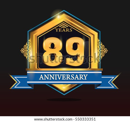 89 years anniversary shiny golden logo blue ribbon with tiny ornament for birthday, celebration, dan party