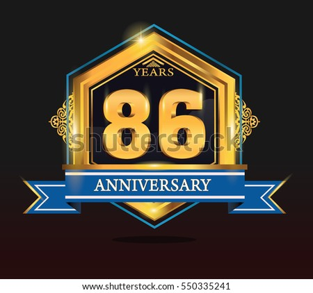 86 years anniversary shiny golden logo blue ribbon with tiny ornament for birthday, celebration, dan party