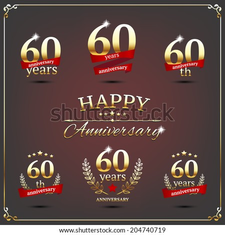 60 years anniversary signs collection - stock vector