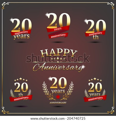 20 years anniversary signs collection - stock vector