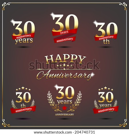 30 years anniversary signs collection - stock vector