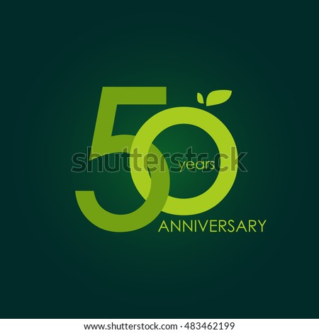 50 years anniversary, signs, symbols, which is green with flat design style