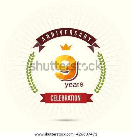 9 Years Anniversary with Low Poly Design and Laurel Ornaments - stock vector