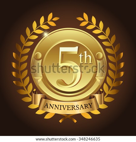 5 years anniversary wreath ribbon logo