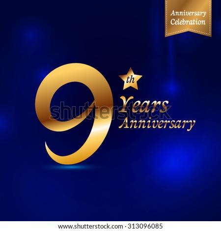 9 years Decorative golden emblem of anniversary - stock vector