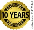 10 years experience golden label with ribbon, vector illustration - stock photo