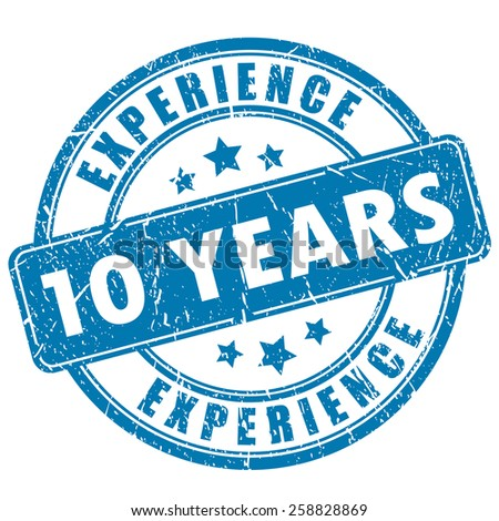 10 years experience stamp - stock vector
