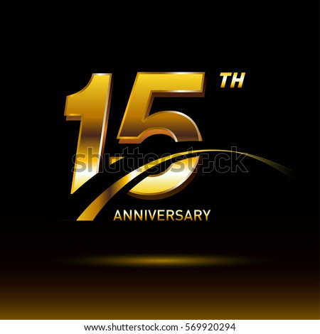 15 Years Golden Anniversary Logo Celebration Stock Vector ...