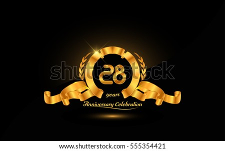 28 years golden anniversary logo celebration with ribbon and laurel.