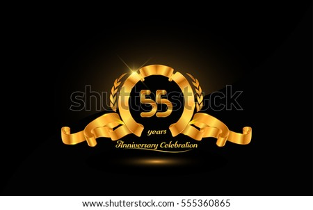 55 years golden anniversary logo celebration with ribbon and laurel.