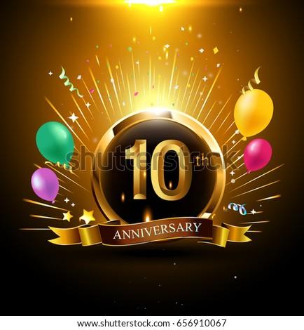 10 Years Golden Anniversary Logo Celebration Stock Vector