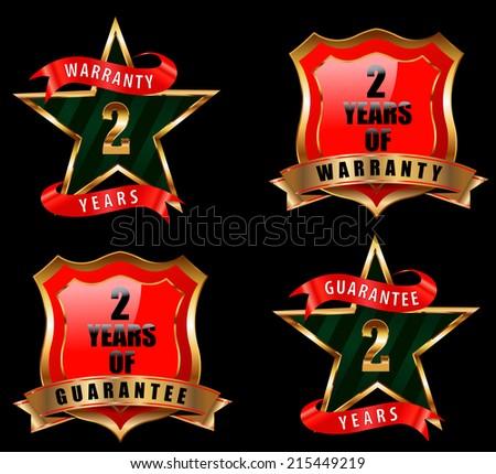 2 years guarantee and warranty badge, guarantee sign, warranty label - vector eps 10 - stock vector