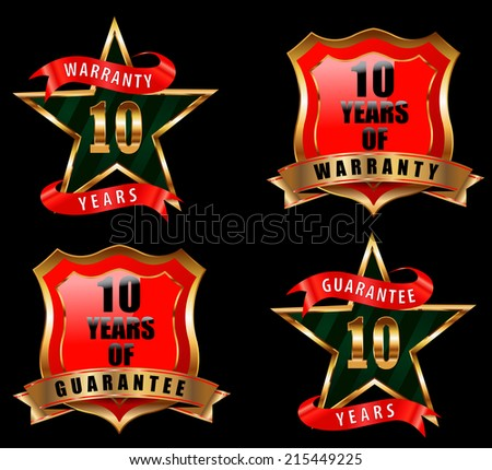 10 years guarantee and warranty badge, guarantee sign, warranty label - vector eps 10 - stock vector