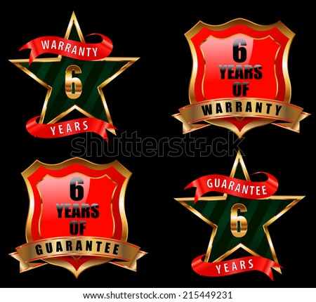 6 years guarantee and warranty badge, guarantee sign, warranty label - vector eps 10 - stock vector