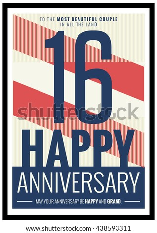 16 Years Happy Anniversary (Vector Illustration Poster Design)