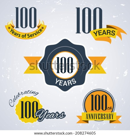100 years of service/ 100 years / Celebrating 100 years / 100th Anniversary - Set of Retro vector Stamps and Seal for business - stock vector