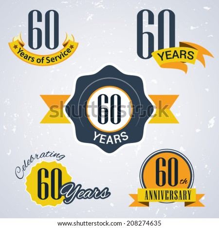 60 years of service/ 60 years / Celebrating 60 years / 60th Anniversary - Set of Retro vector Stamps and Seal for business - stock vector