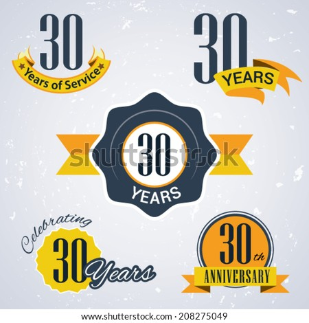 30 years of service/ 30 years / Celebrating 30 years / 30th Anniversary - Set of Retro vector Stamps and Seal for business