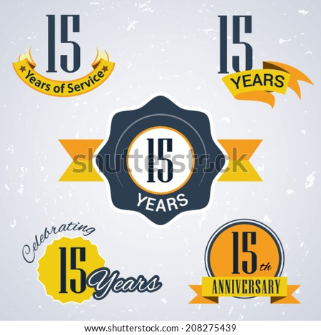 15 years of service/ 15 years / Celebrating 15 years / 15th Anniversary - Set of Retro vector Stamps and Seal for business - stock vector