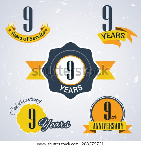 9 years of service/ 9 years / Celebrating 9 years / 9th Anniversary - Set of Retro vector Stamps and Seal for business - stock vector