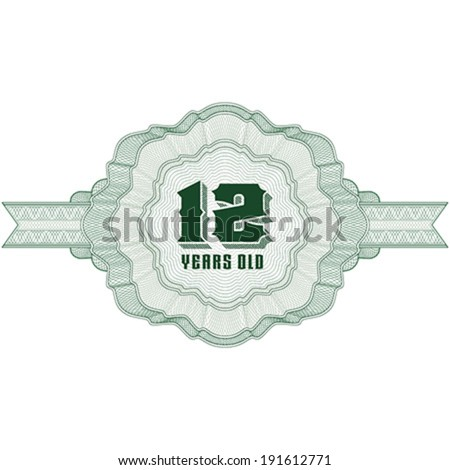 12 Years Old. Guilloche elements for certificate or diploma / currency and money design / vector / CMYK color / All lines are easy editable - stock vector