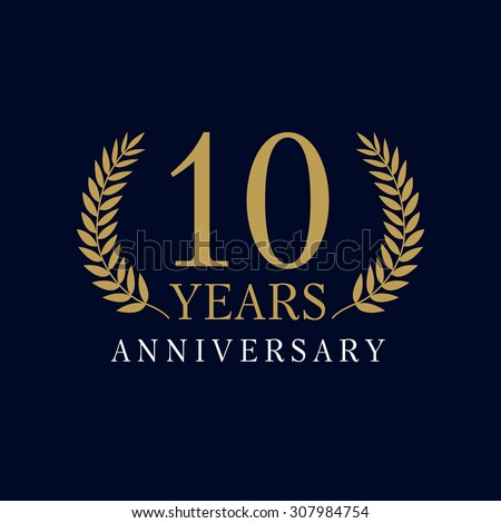 10 years old luxurious logo anniversary stock vector 307984754 shutterstock - Th anniversary symbol ...