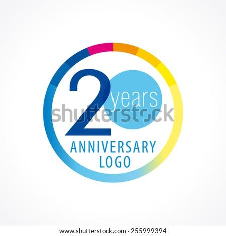 20 Years Old Round Logo Anniversary Stock Vector 255999394