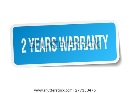 2 years warranty blue square sticker isolated on white - stock vector