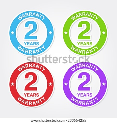 2 Years Warranty Colorful Vector Icon Design - stock vector