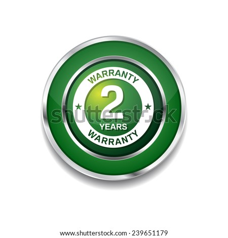 2 Years Warranty Green Vector Icon Button - stock vector