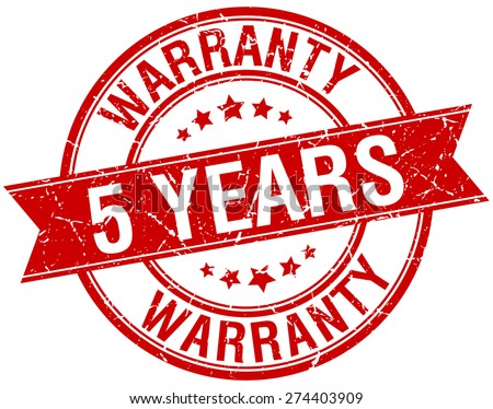 5 years warranty grunge retro red isolated ribbon stamp - stock vector