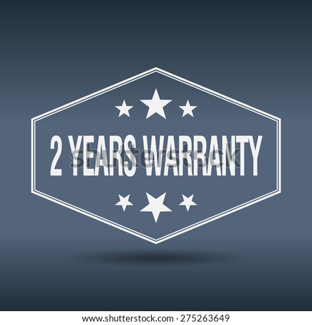 2 years warranty hexagonal white vintage retro style label - stock vector