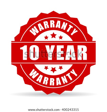10 years warranty icon, vector illustration isolated on white background - stock vector
