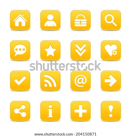 16 yellow gold satin icon with basic sign. Rounded square web internet button with gray shadow on white background. Vector illustration design element 8 eps - stock vector