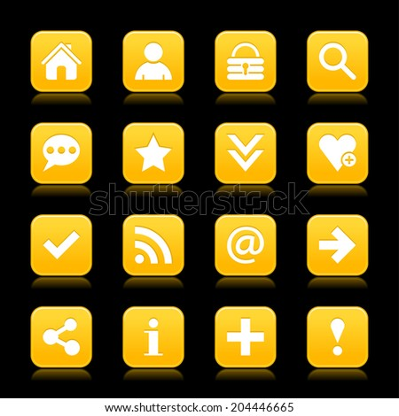 16 yellow gold satin icon with white basic sign on rounded square web button with color reflection on black background. This vector illustration internet design element save in 8 eps - stock vector