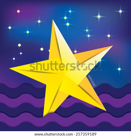 Yellow paper origami fallen star on background with night sky. cartoon cosmic landscape - stock vector