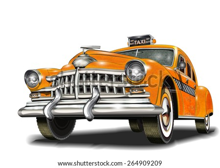 Yellow taxi retro car. - stock vector