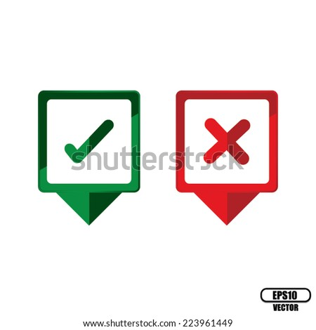 """Yes"" and ""No"" or Check Mark Square Icons - vector. - stock vector"