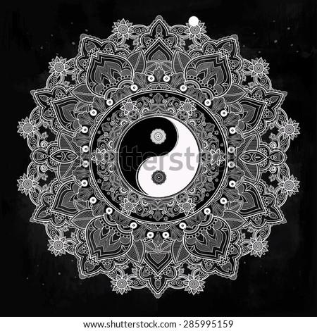 Yin and yang Tao mandala symbol. Round Ornament Pattern. Vector isolated illustration. Paisley background. Vintage decorative oriental symbol of harmony, balance. Tattoo, yoga, spirituality, textiles - stock vector