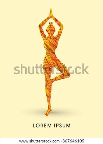 Yoga pose designed using fire grunge brush graphic vector. - stock vector
