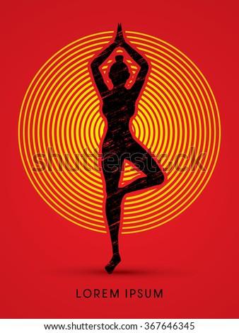 Yoga pose designed using grunge brush on circle light background graphic vector. - stock vector