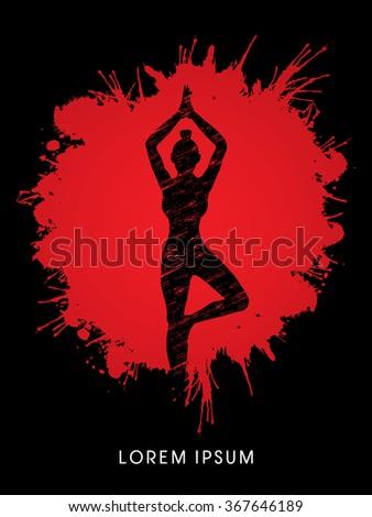 Yoga pose designed using grunge brush on splash blood background graphic vector. - stock vector