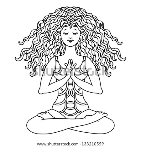 Yoga women in lotus poses  black line isolated on white background - vector - stock vector