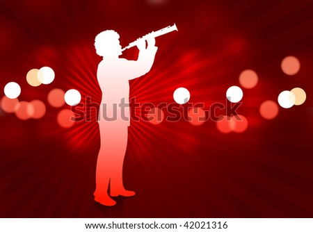 young clarinet player on abstract red background - stock vector