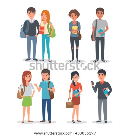 Young international student characters collection. Students Lifestyle. Vector students illustration. - stock vector